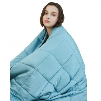 "YnM Cooling Weighted Blanket for sleep, 15 lbs 48""x72"", Sea Grass."